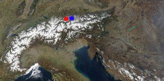 Map of Alps - Германия - червено - Zugspitze; синьо - Sudelfeld