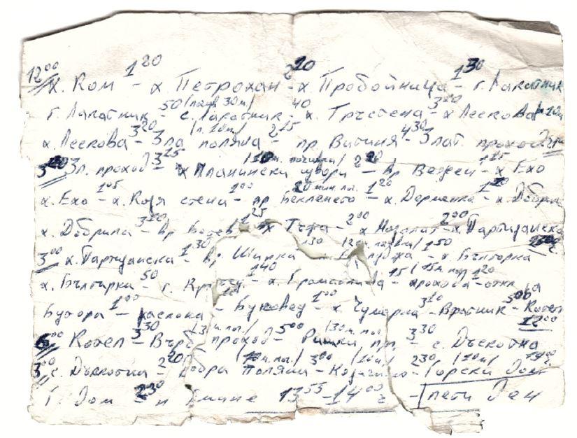 Листът, на който през 1987 г. Любо си е записвал времената