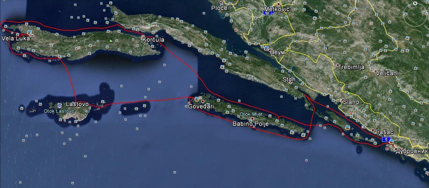 Маршрут на плаването в Хърватска