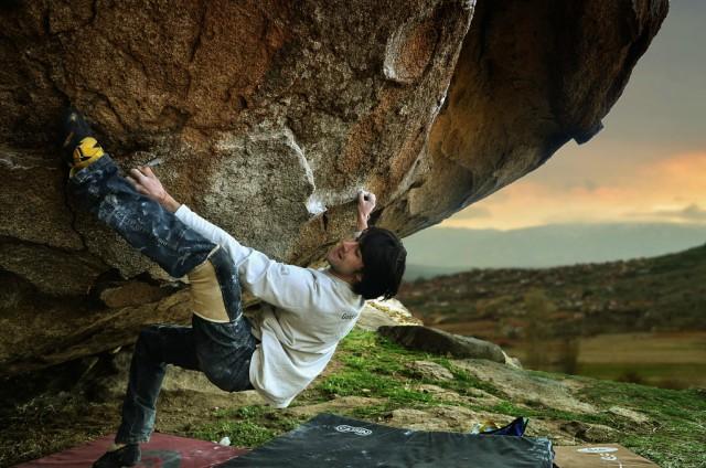 Емилиян Колевски по маршрут Predator (7C), в Прилеп; фотография: Благовеста Банчева