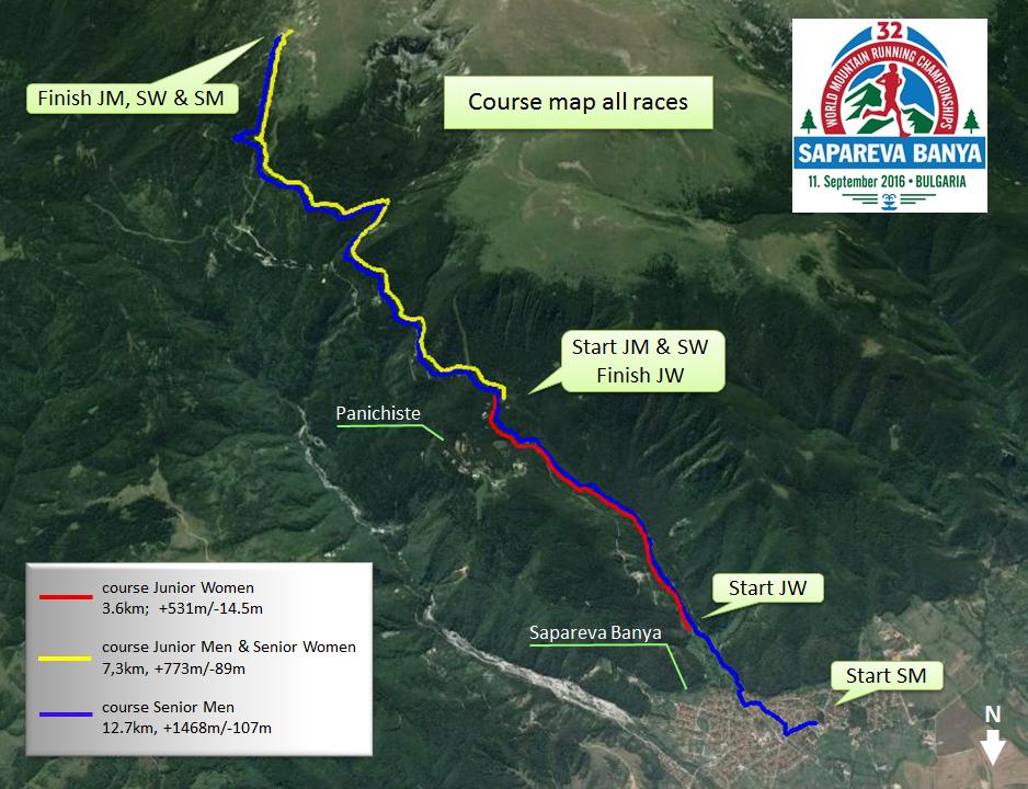 Световно по планинско бягане, Сапарева баня, трасе