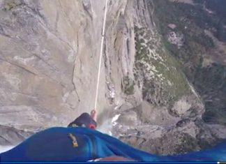 Слаклайн над водопад в парка Йосемити