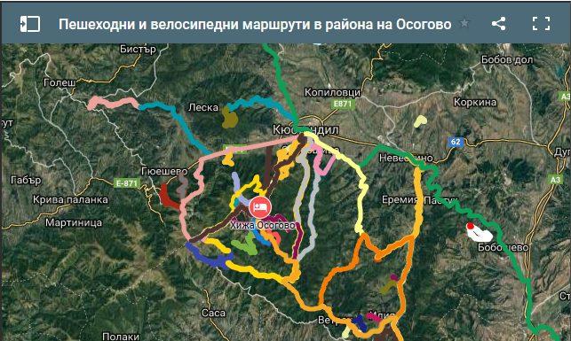 Интерактивна карта за вело и пешеходни маршрути в Осогово