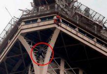 Мъж се изкачи на айфеловата кула
