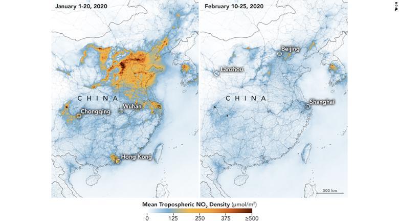 Кадър: CNN/Кадър: CNN / Сателитна снимка на Китай - преди и след карантината