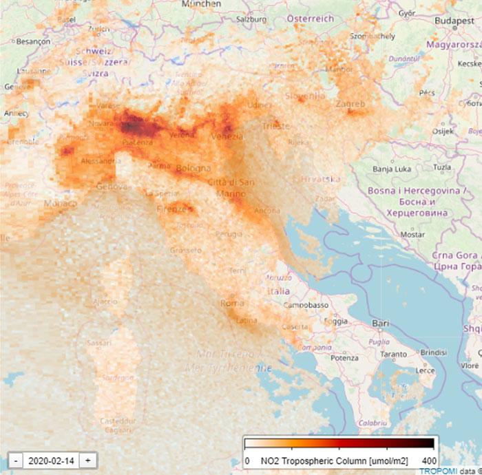 Сателитна снимка на Италия преди карантината, заради Коронавируса