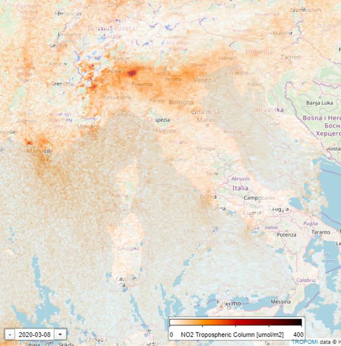 Сателитна снимка на Италия след карантината, заради Коронавируса