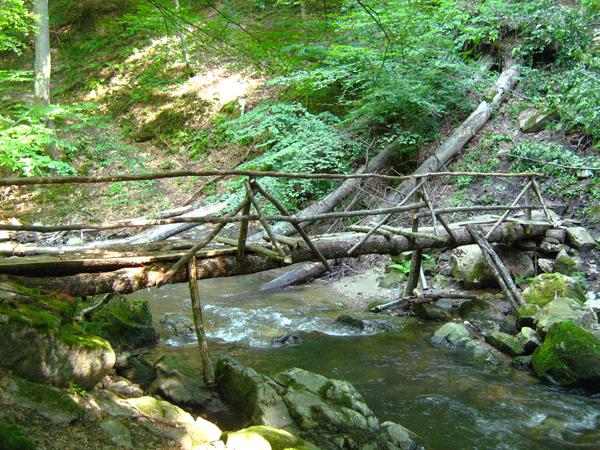 Дървеният мост над реката, водещ до пътечката за водопада.