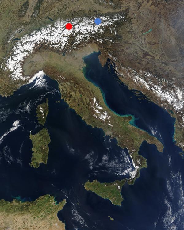 Map of Austrian Alps: синьо - Fieberbrunn; червено - Silvretta Arena Ischgl