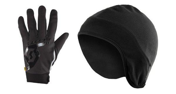 Уиндстоп ръкавици и шапка за под каската SCOTT.