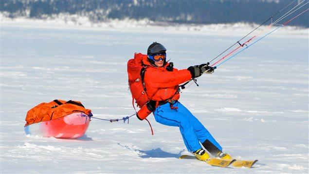 До Южния полюс със сноукайт, Фредерик Дион
