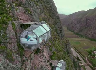 cliff-hanging sleep pod