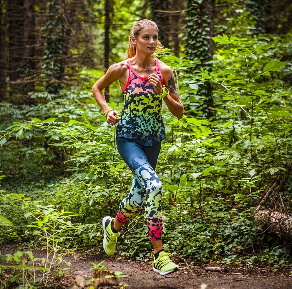 маратонки Adidas Ultra Boost, топ Adidas Yogi Twist Tank, клин Adidas Ult Yoga Tight