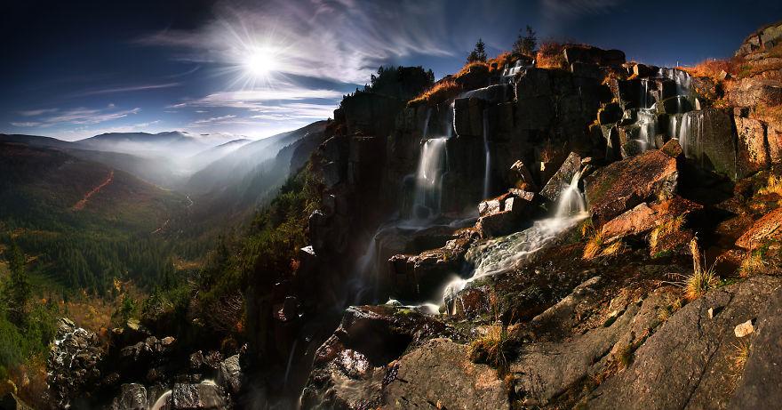 Водопадът Панчава в планината Карконоше, Полша