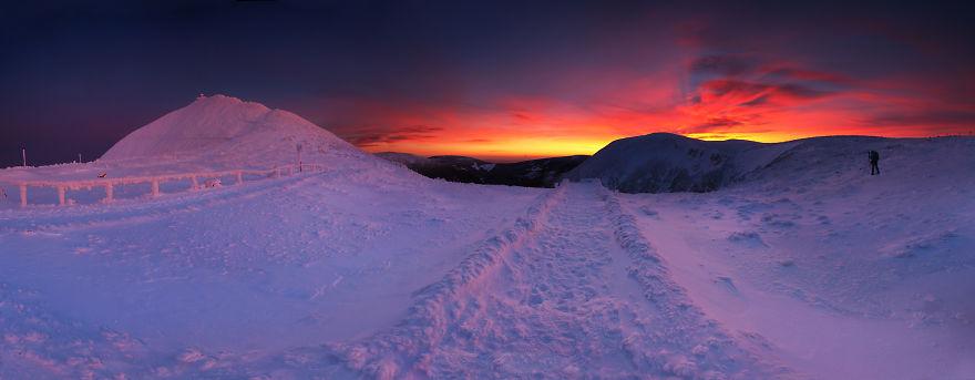 Изгрев над планината Карконоше, Полша