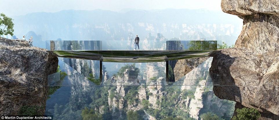 """""""Невидим"""" мост високо в планината"""