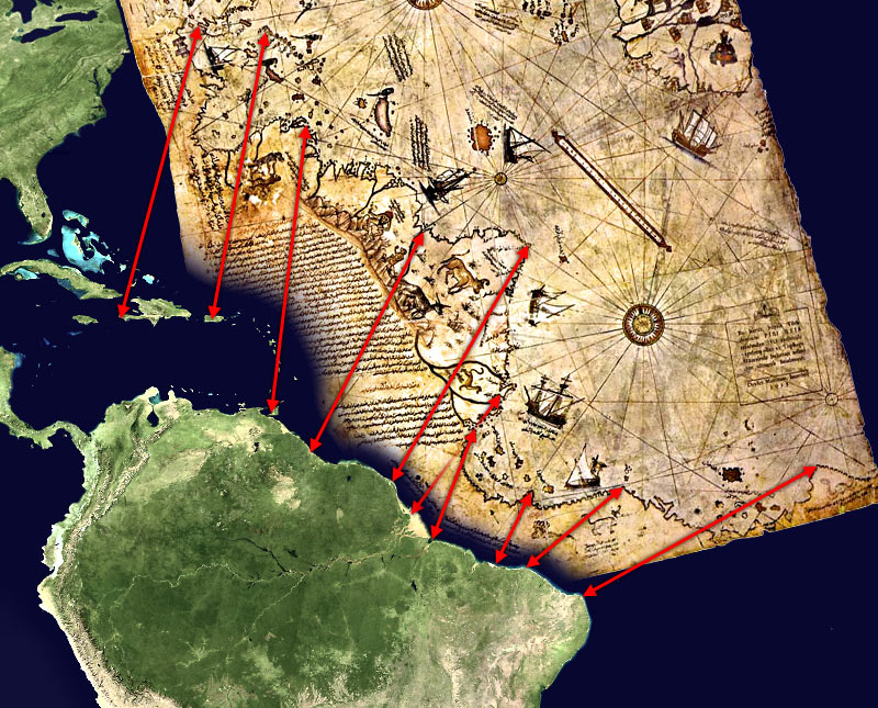 Южна Америка на картата на Реис.