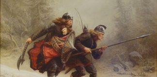 Биркебейнери спасяват норвежкия престолонаследник - картина на Кнуд Бергслиен.